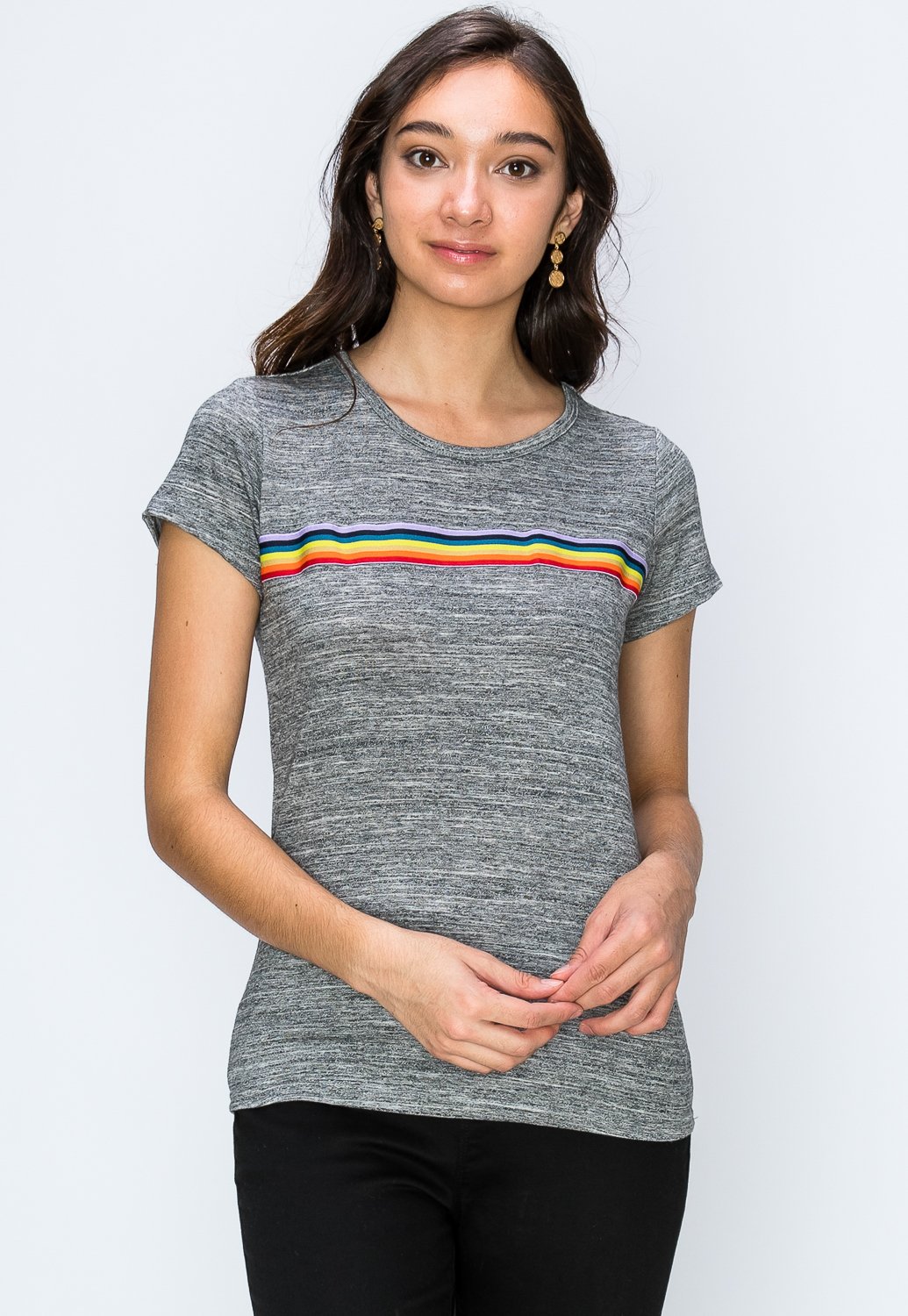 Rainbow Striped Active Top