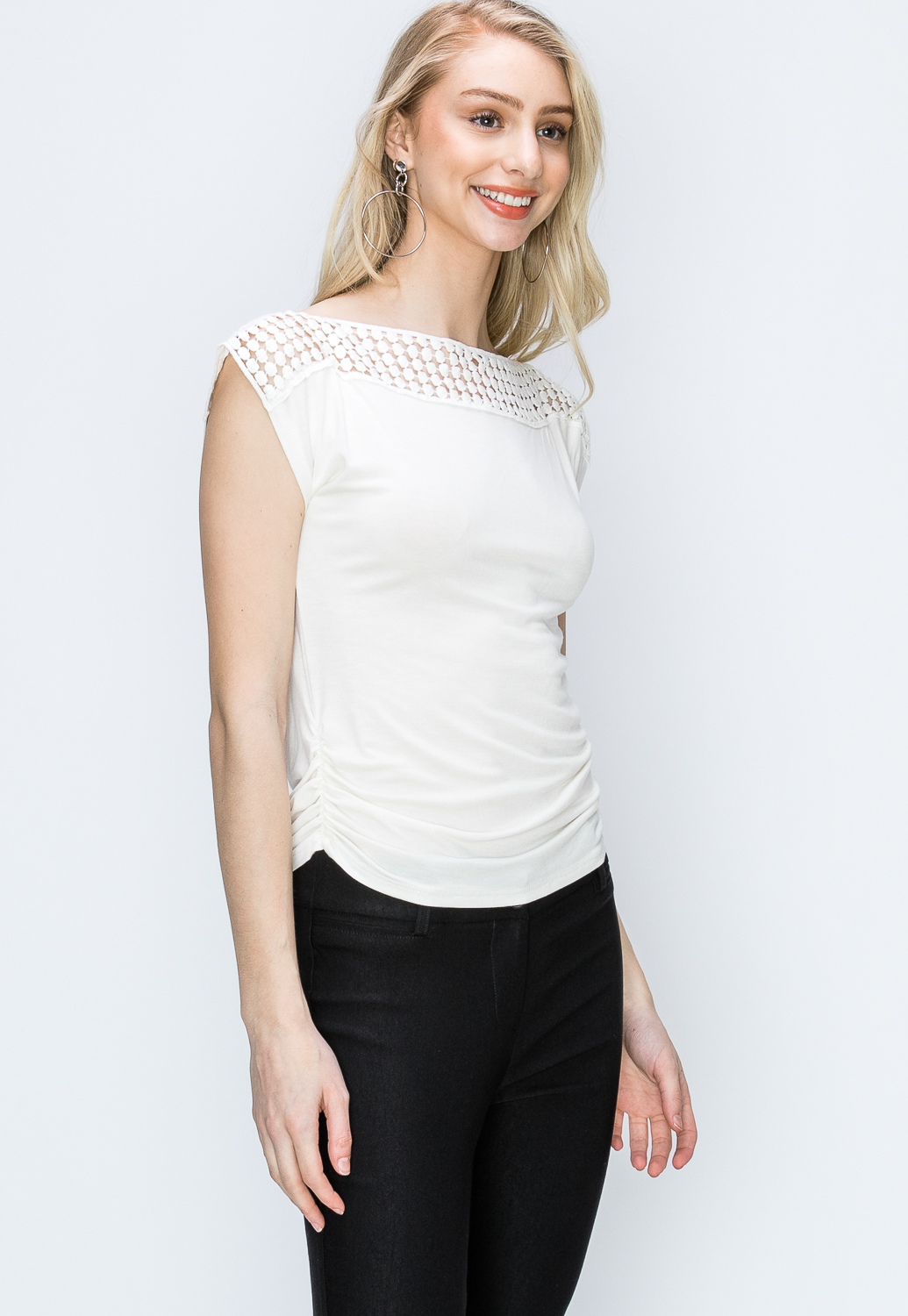 Side Ruched Detail Crochet Trim Top