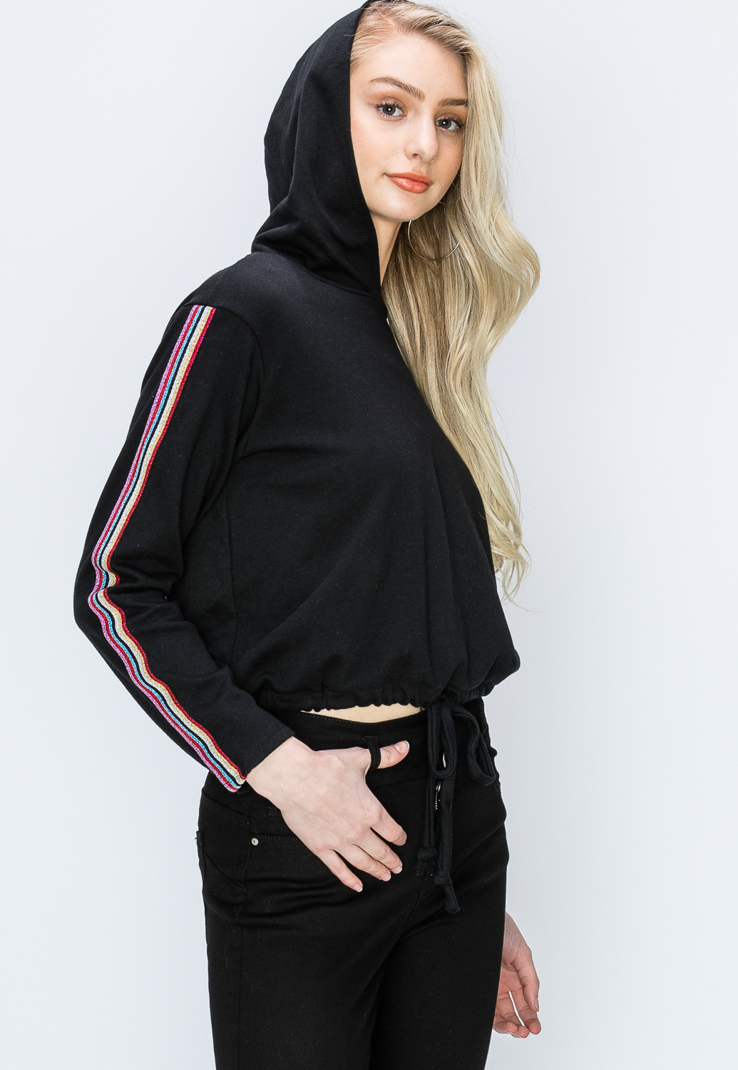 Striped Detail Active Hoodie