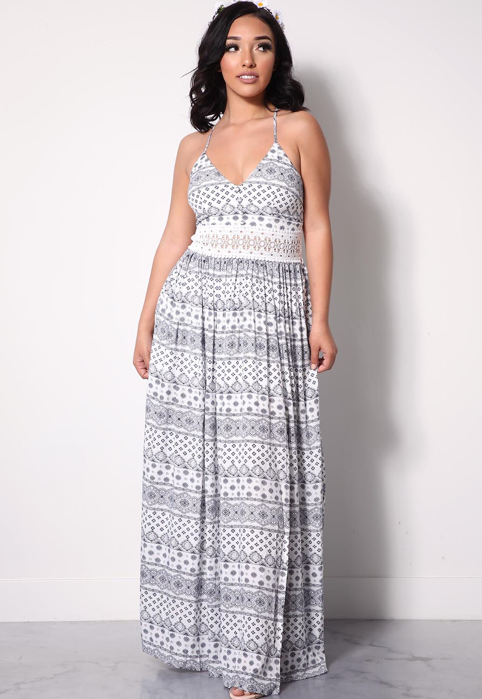 2f4ef71b55346 Boho Crochet-Trim Maxi Dress | Shop New Arrivals at Papaya Clothing
