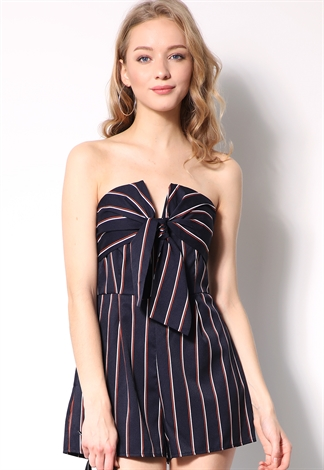 Strapless Pinstriped Romper
