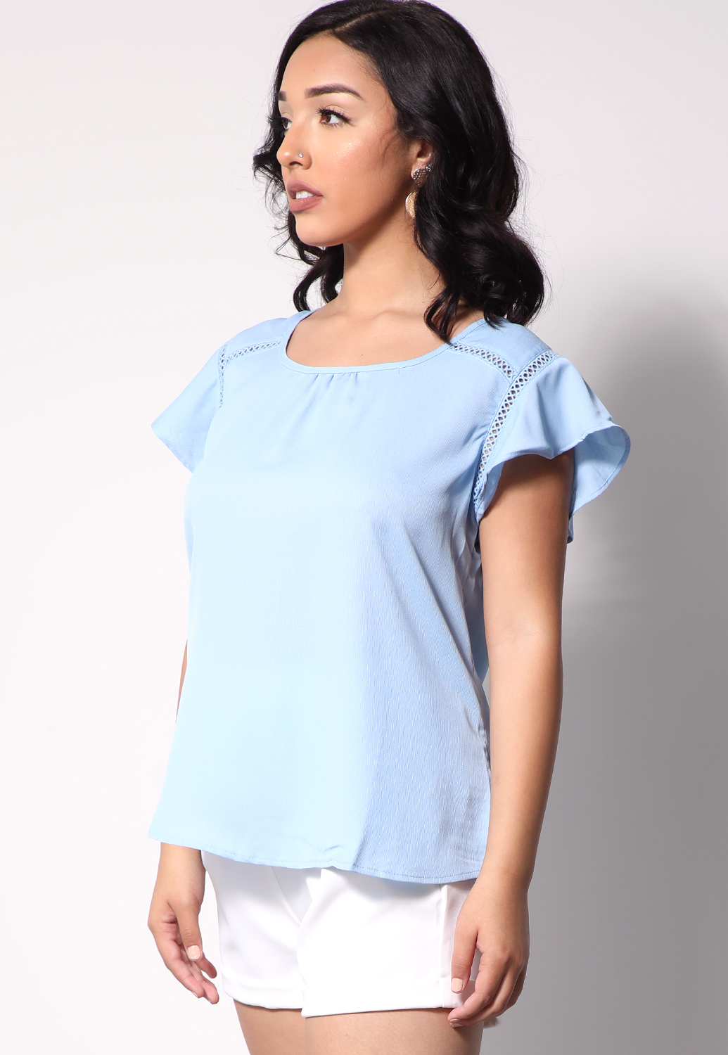 Crochet Trim Ruffle Detail Top