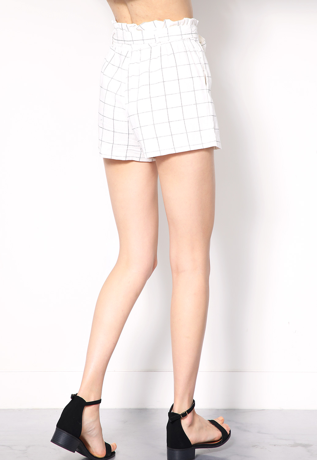 Plaid Tie-Front Dressy Shorts