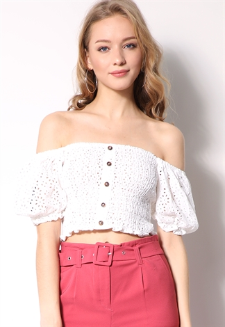 Floral Smocked Crop-Top