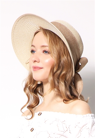 Straw Hat W/ Wide Ribbon
