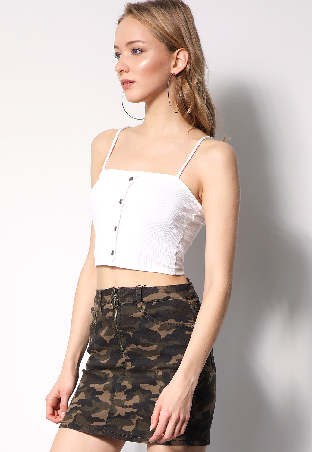 Ribbed Button Detail Cropped Top