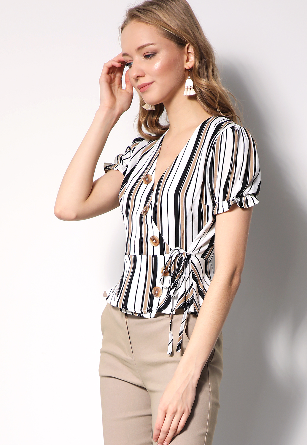 Striped Side-Tie Top