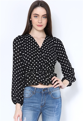Surplice Polka Dot Print Top