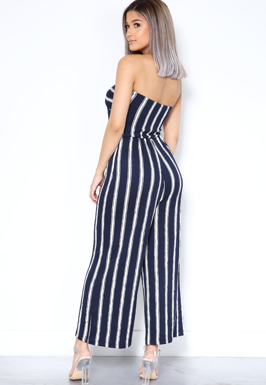 Strapless Pinstriped Jumpsuit