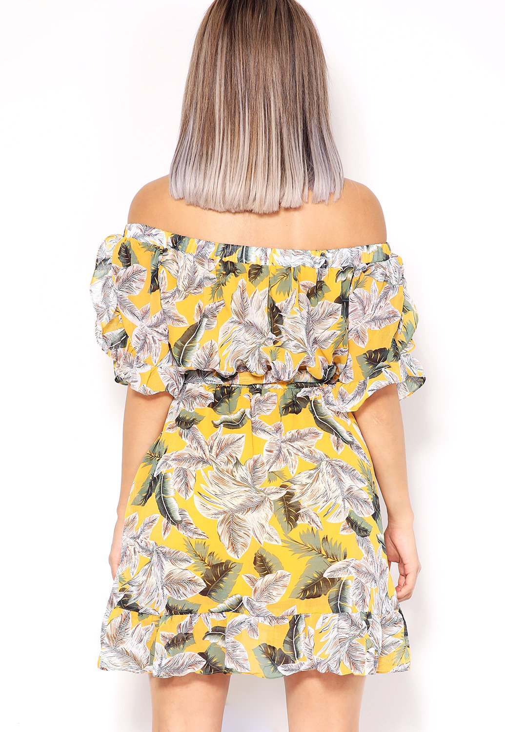 Off The Shoulder Leaf Print Mini Dress