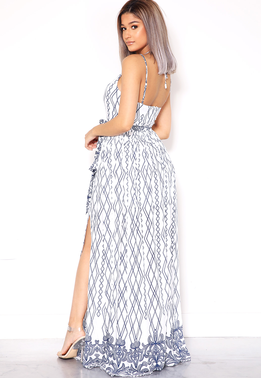 Caged Front Slit Maxi Dress