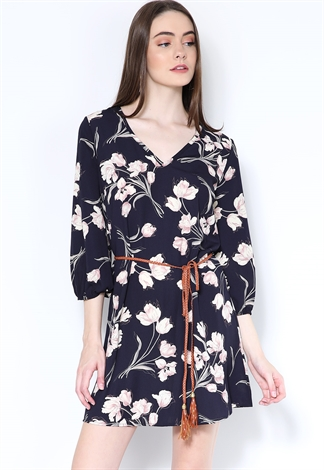 Floral Print Belted Mini Dress