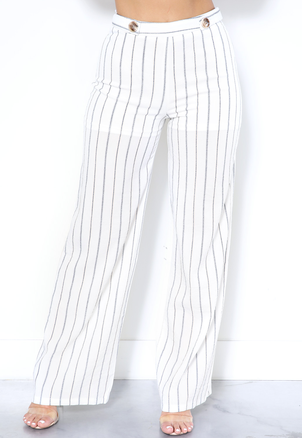 Pinstriped High Waisted Pants