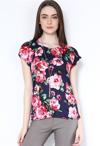 Floral Casual Top W/Necklace