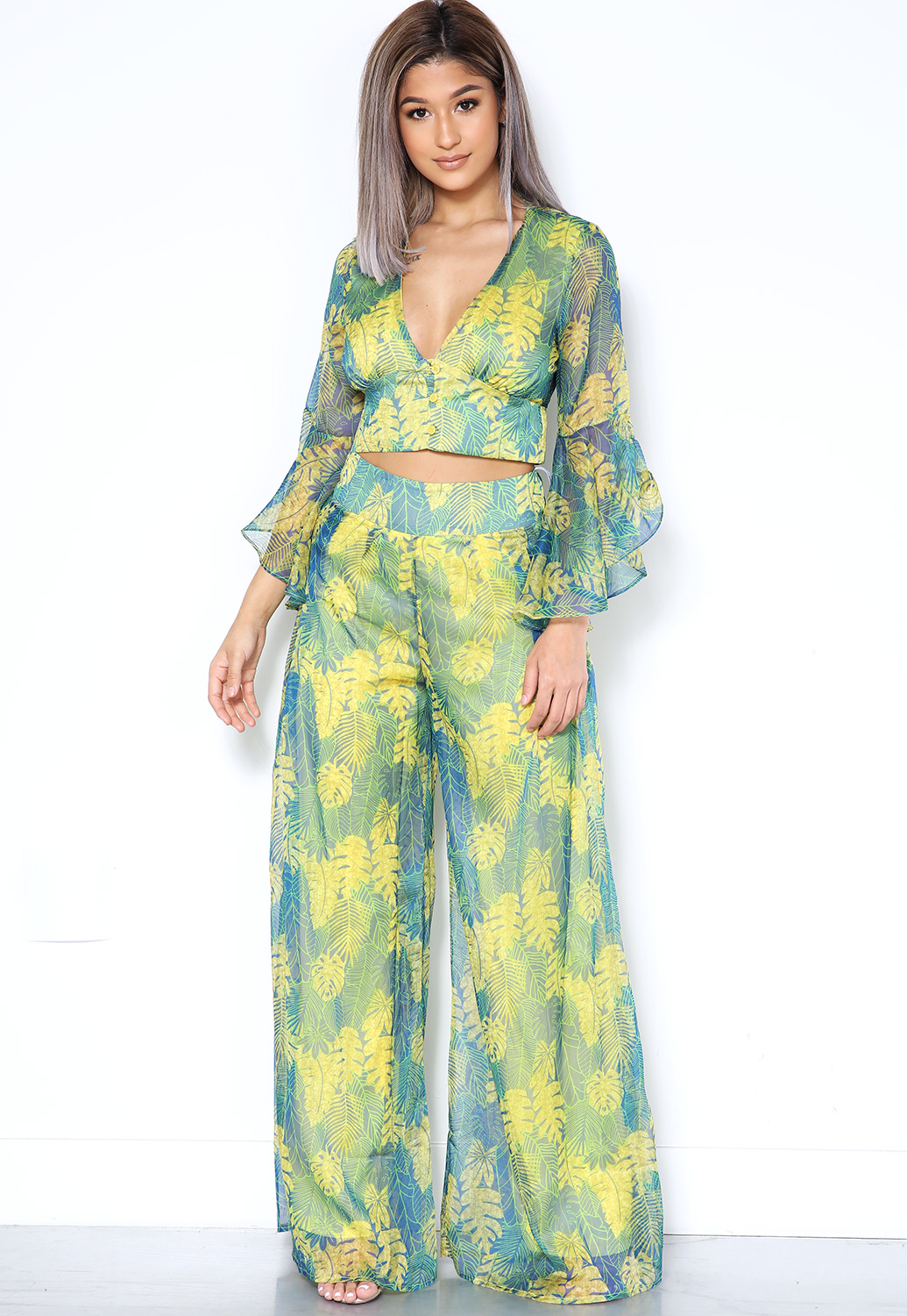 Sheer Tropical Leaf Print Top