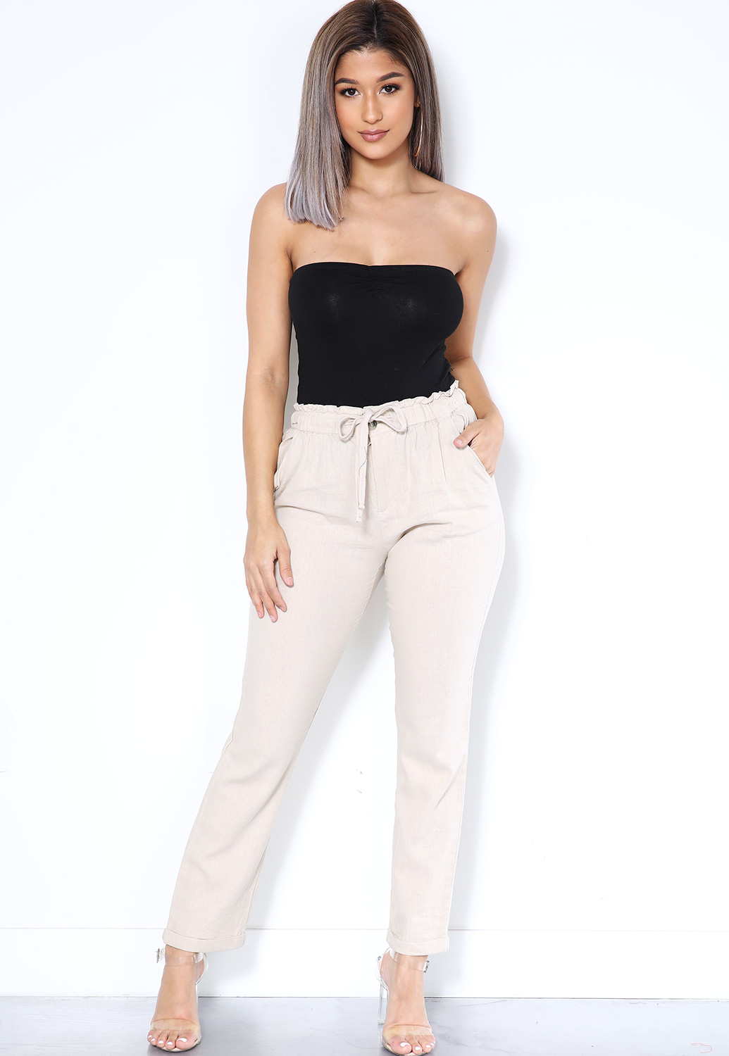 Waist-Ruffle Detail Casual Pants