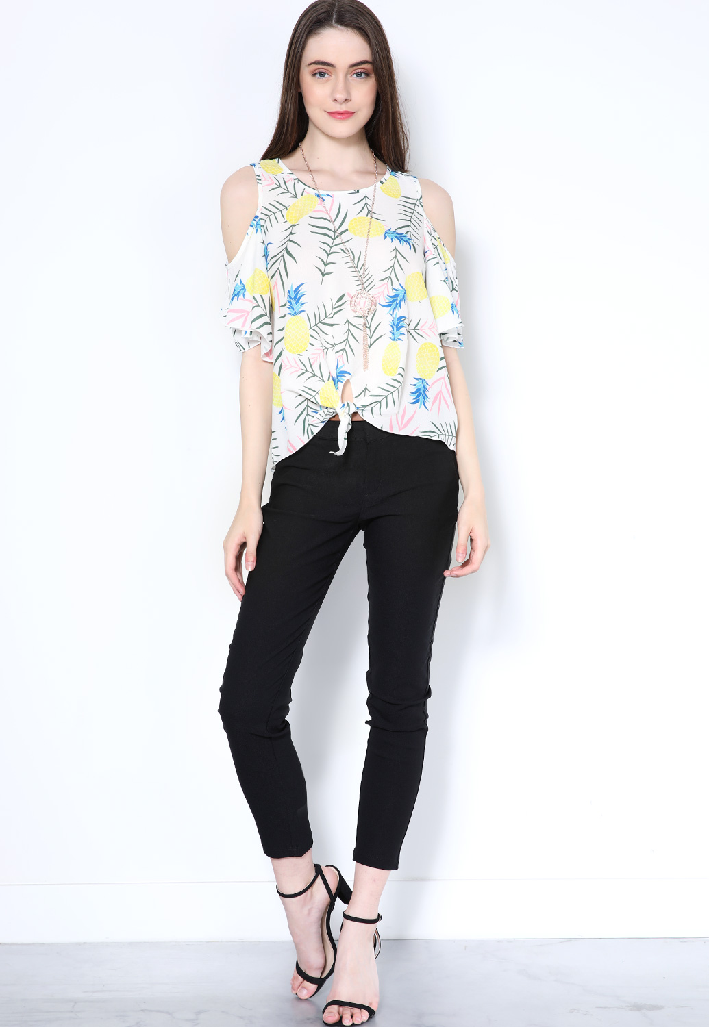 Pineapple Print Top W/Necklace