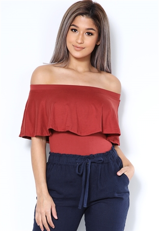 Flare Trim Off The Shoulder Bodysuit