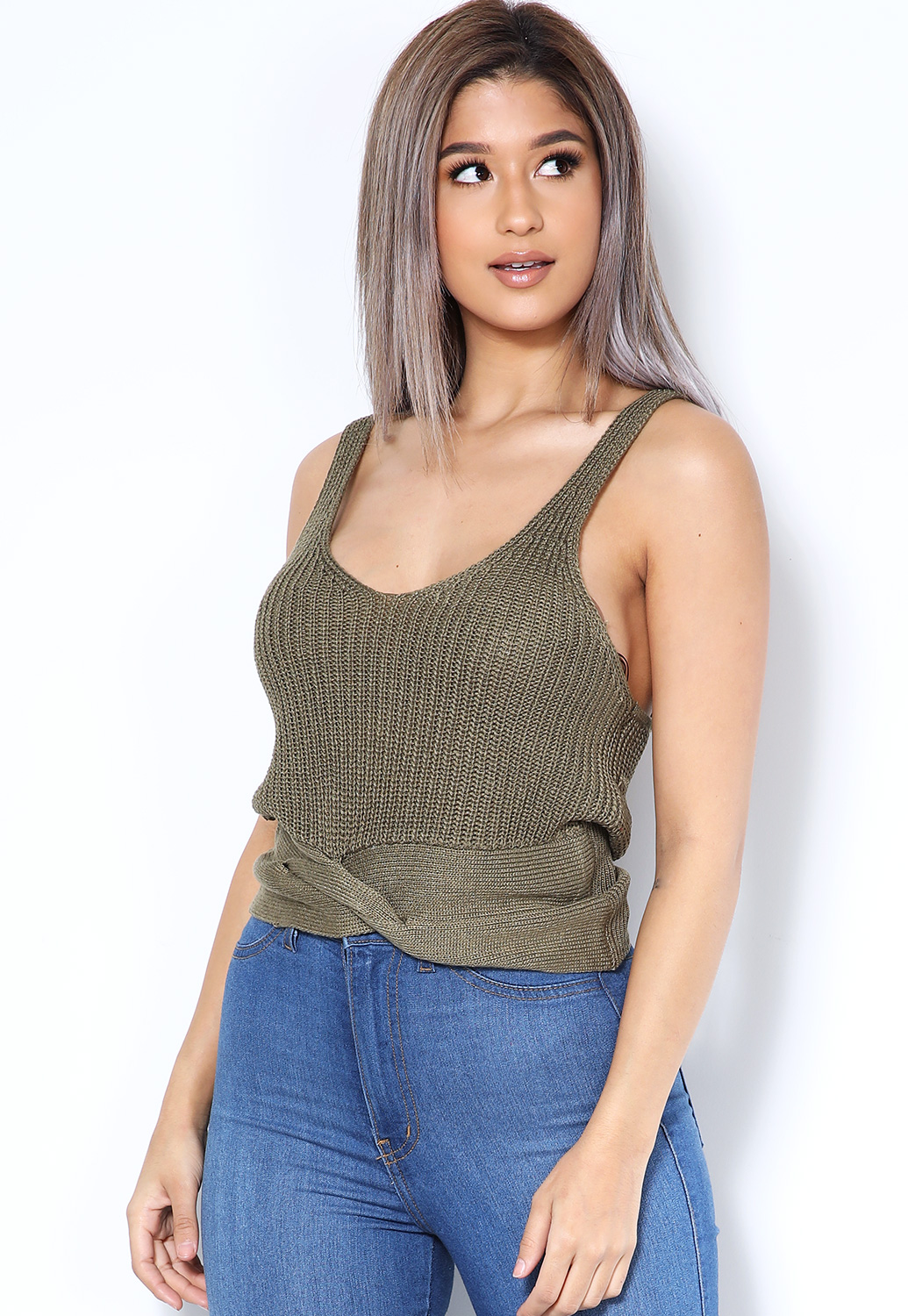 Knit V Neck Top