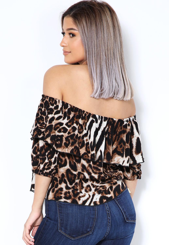 47c2e570f88ea8 Off The Shoulder Cheetah Print Blouse   Shop Blouses & Shirts at ...
