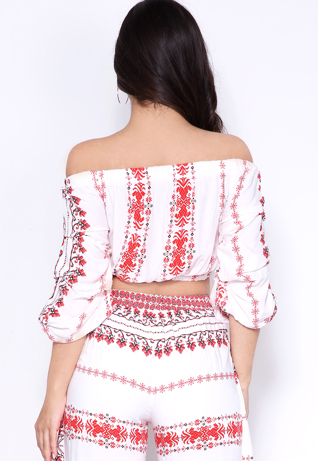 Abstract Print Off The Shoulder Top