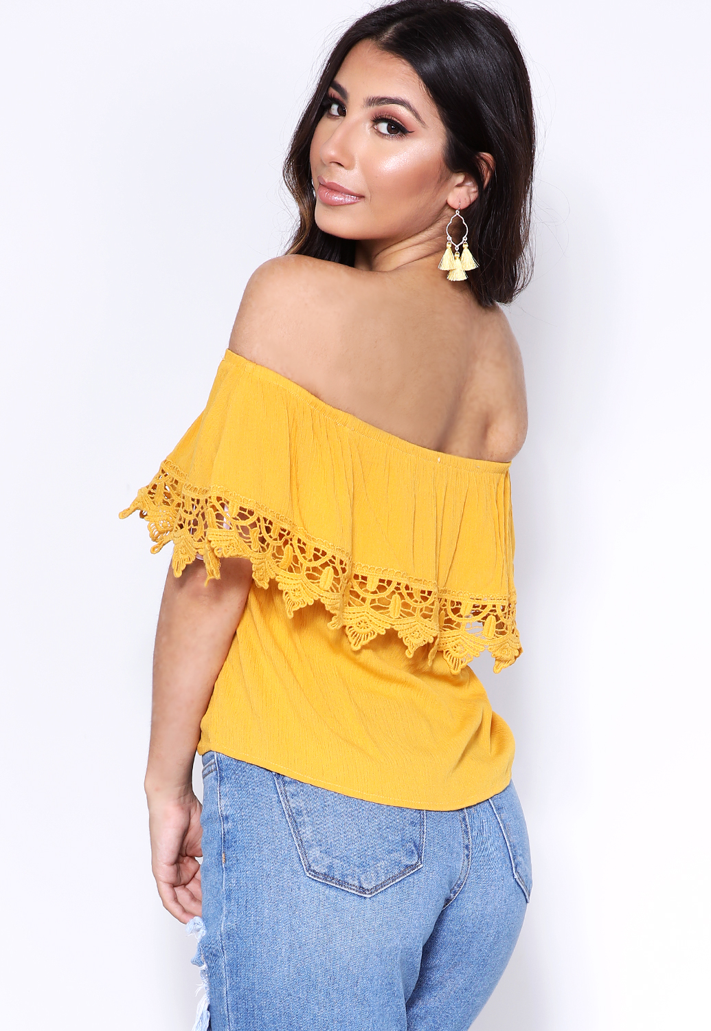 Crochet Trim Off-The-Shoulder Top