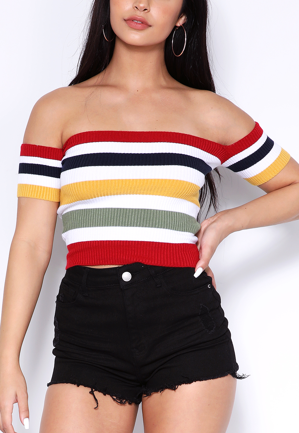 Striped Knit Off The Shoulder Top