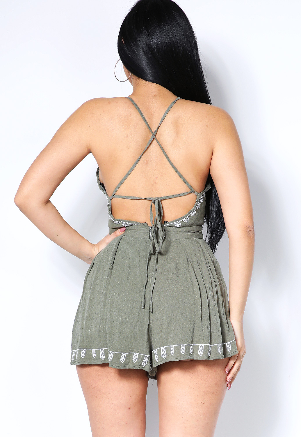 Embroidered Cut-Out Romper