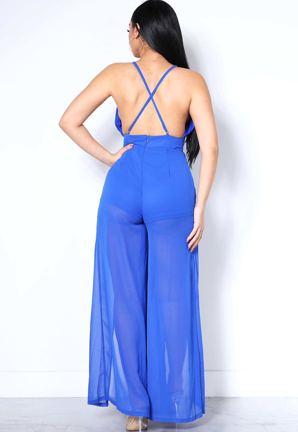 Semi-Sheer Front Tie  Maxi Dress