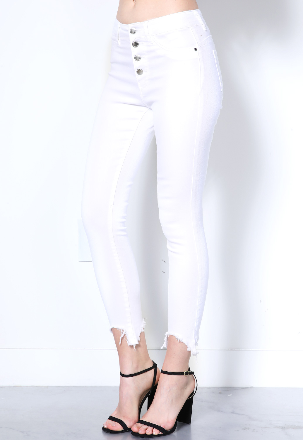 Multi Button High Waisted Jeans