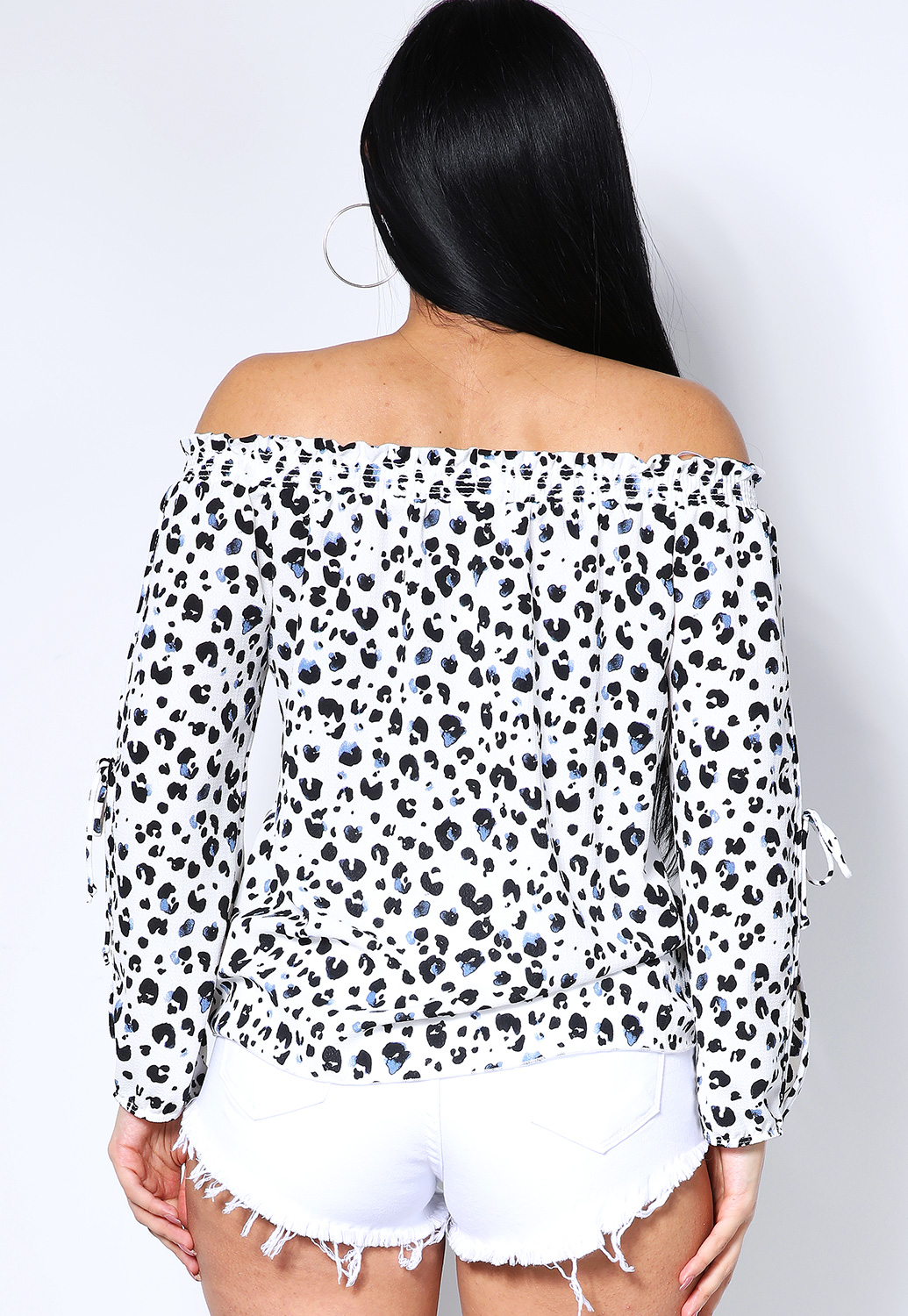 Leopard Print Off The Shoulder Top