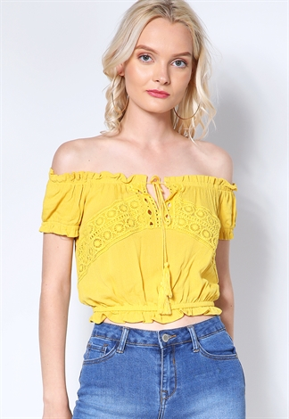 Crochet Trim Off The Shoulder Top