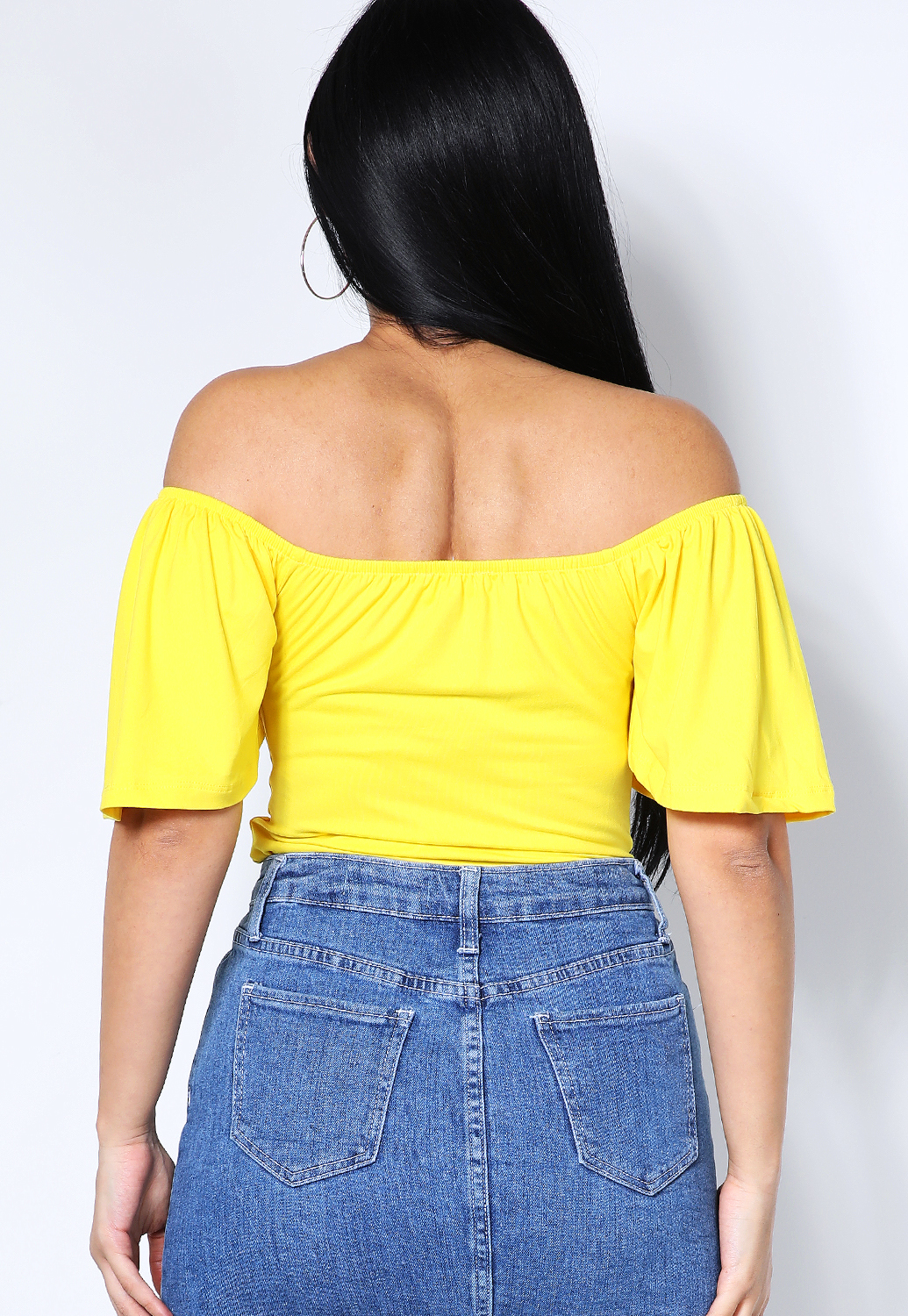 Front Button Detail Off The Shoulder Top