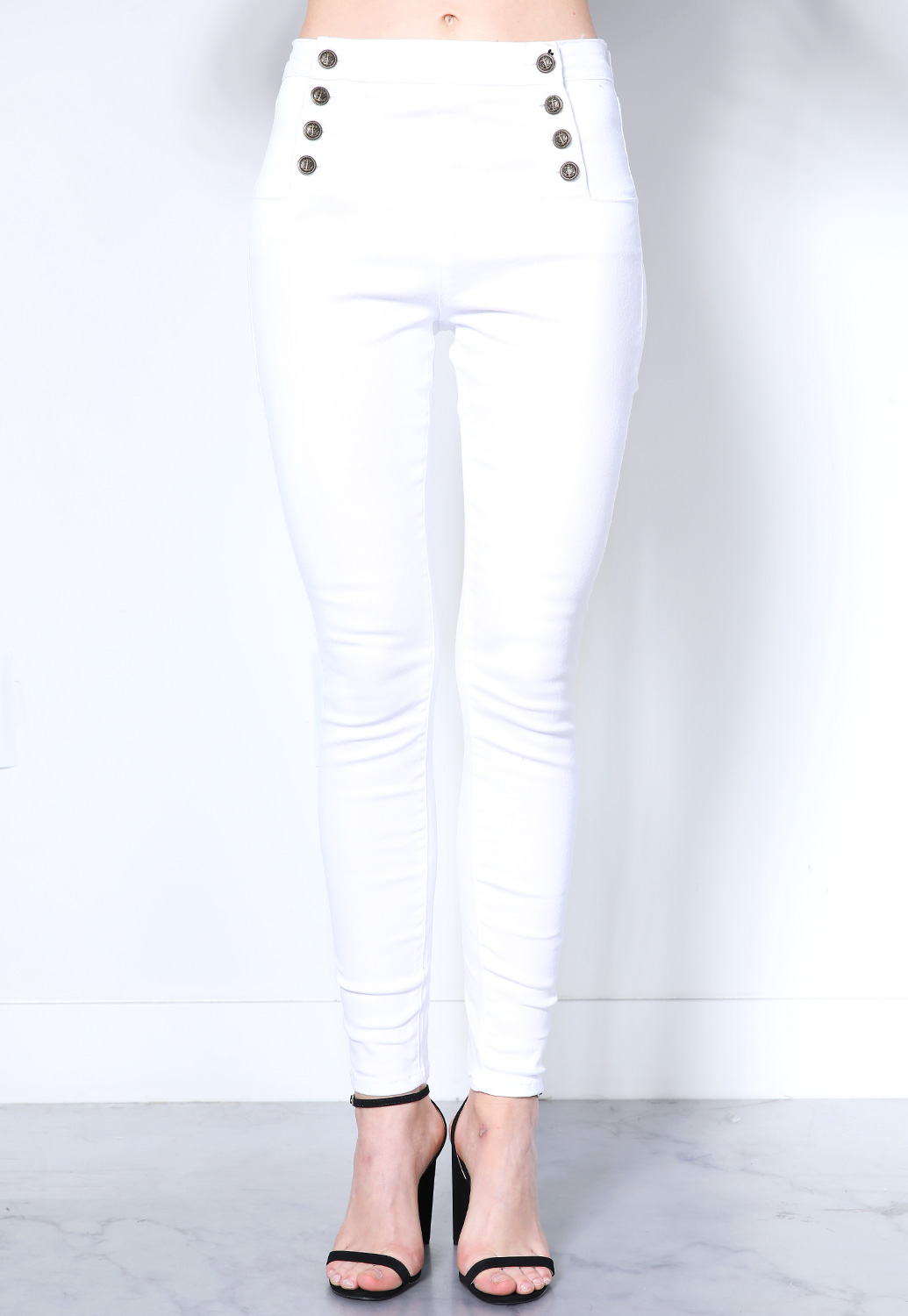 Multi Button High Rise Jeans