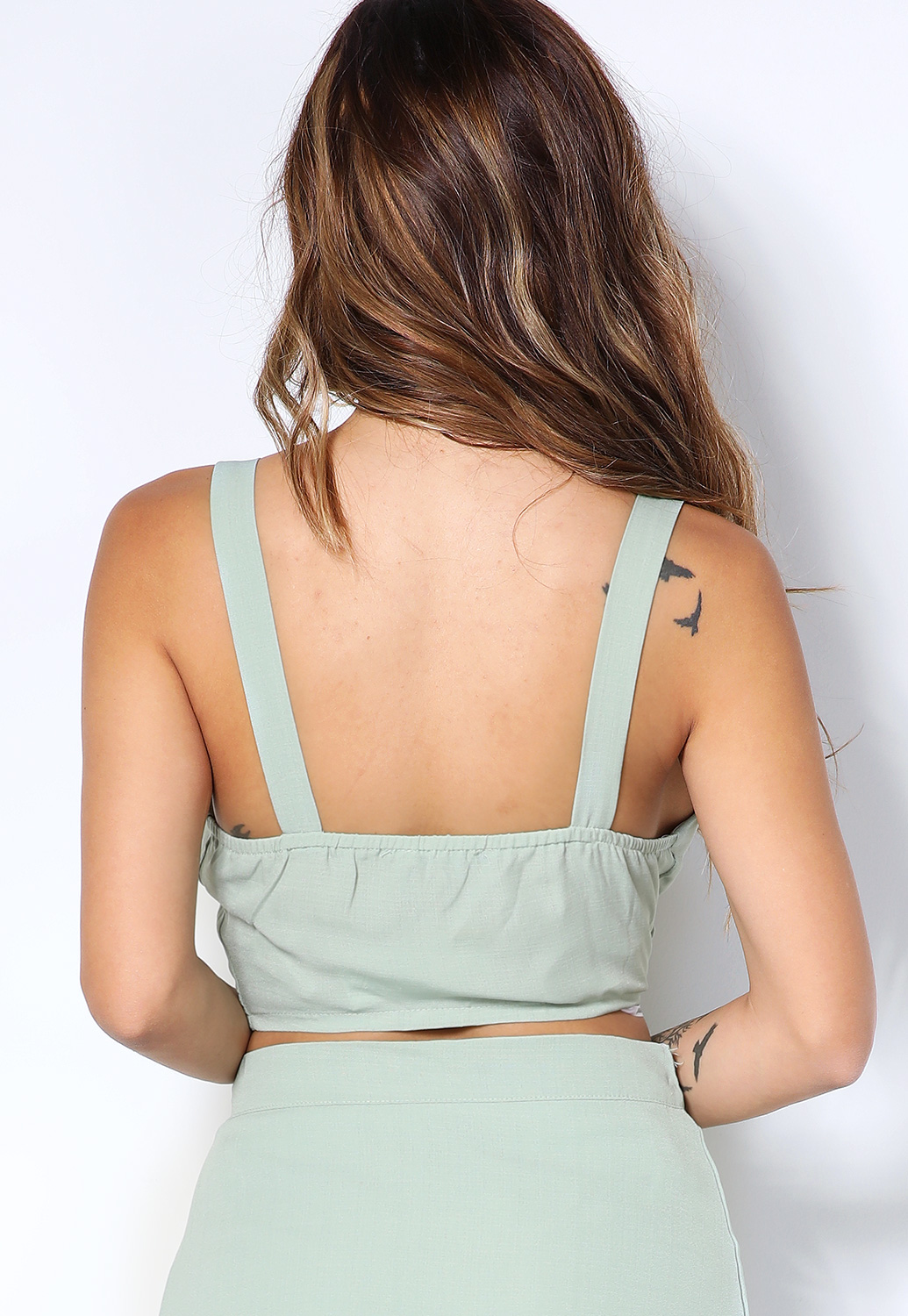 Front Button Detail Crop-Top