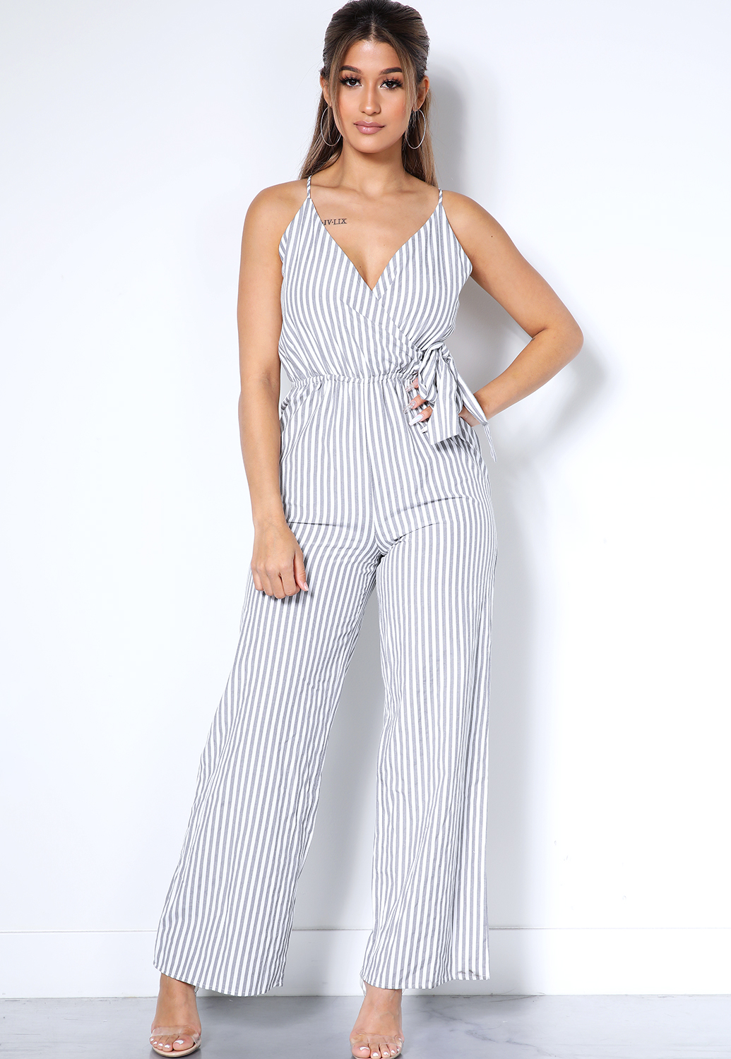 Vertical Striped Surplice Jumpsuit