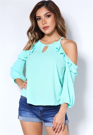 Ruffle Trim Open Shoulder Top