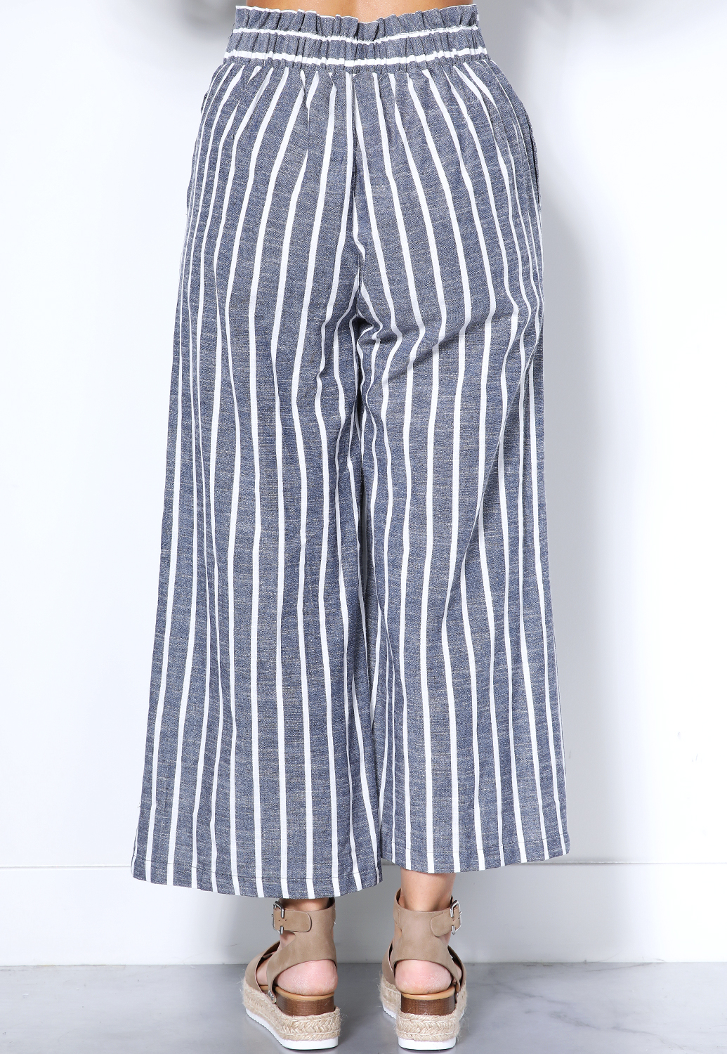 Pinstriped Tie Front Pants