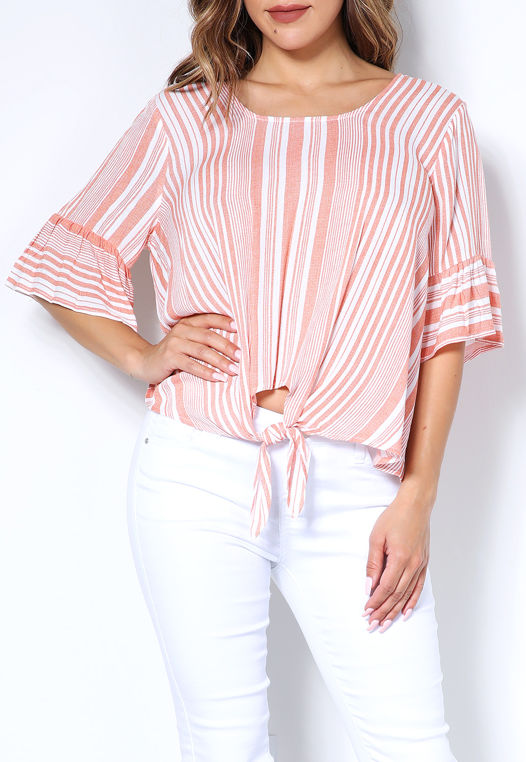 Pinstriped Bell-Sleeve Casual Top
