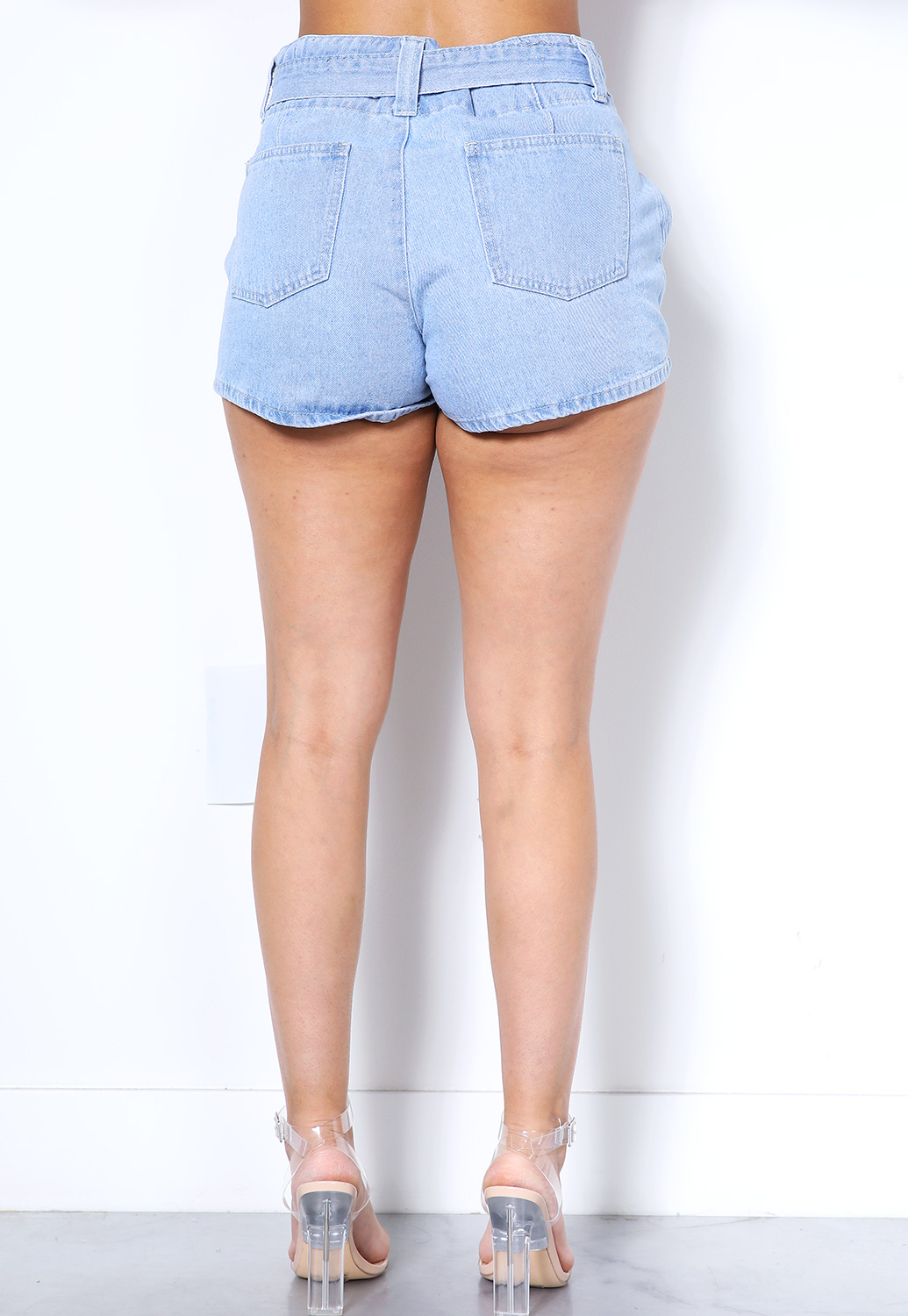 Tie Front Denim Shorts