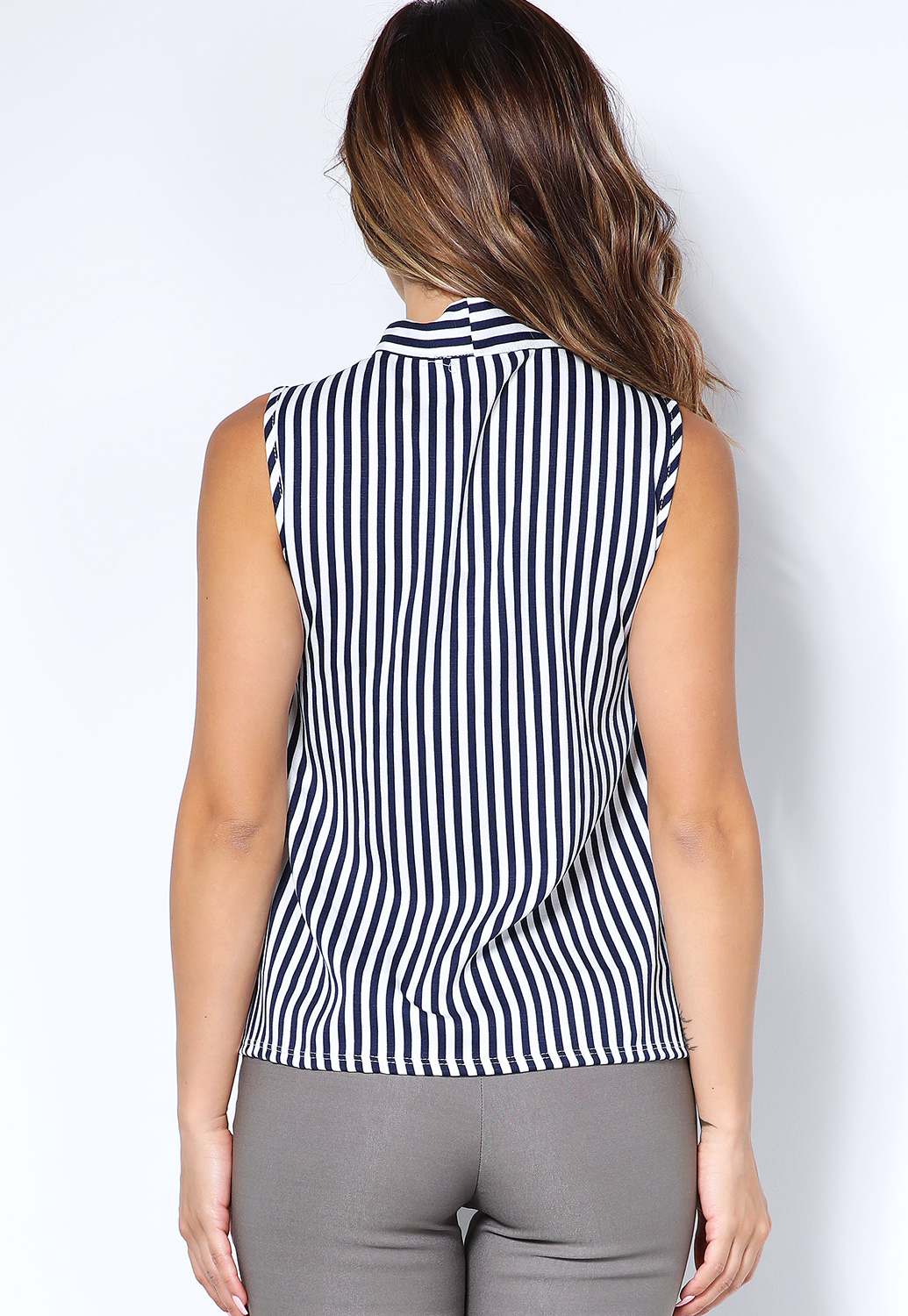 Striped Tie Neck Top