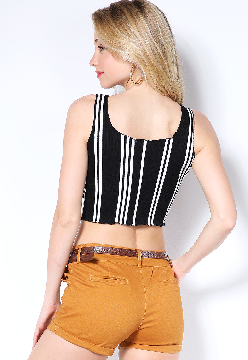 Striped Ruched Detail Crop Top