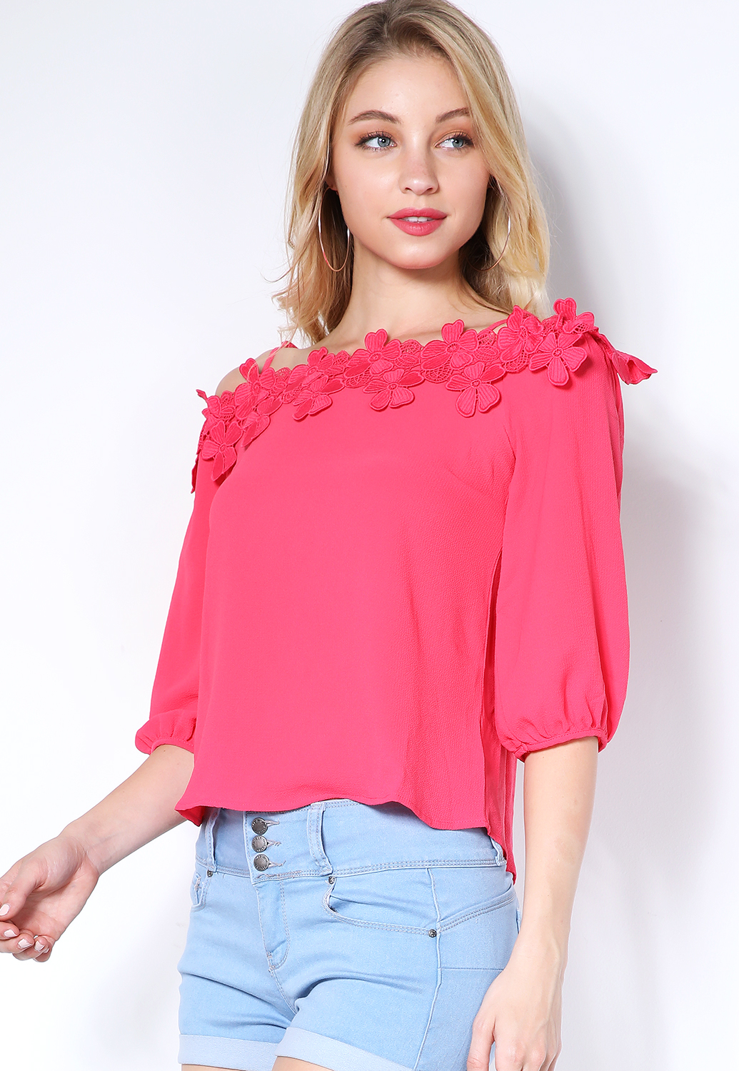 Floral Crochet Open Shoulder Top