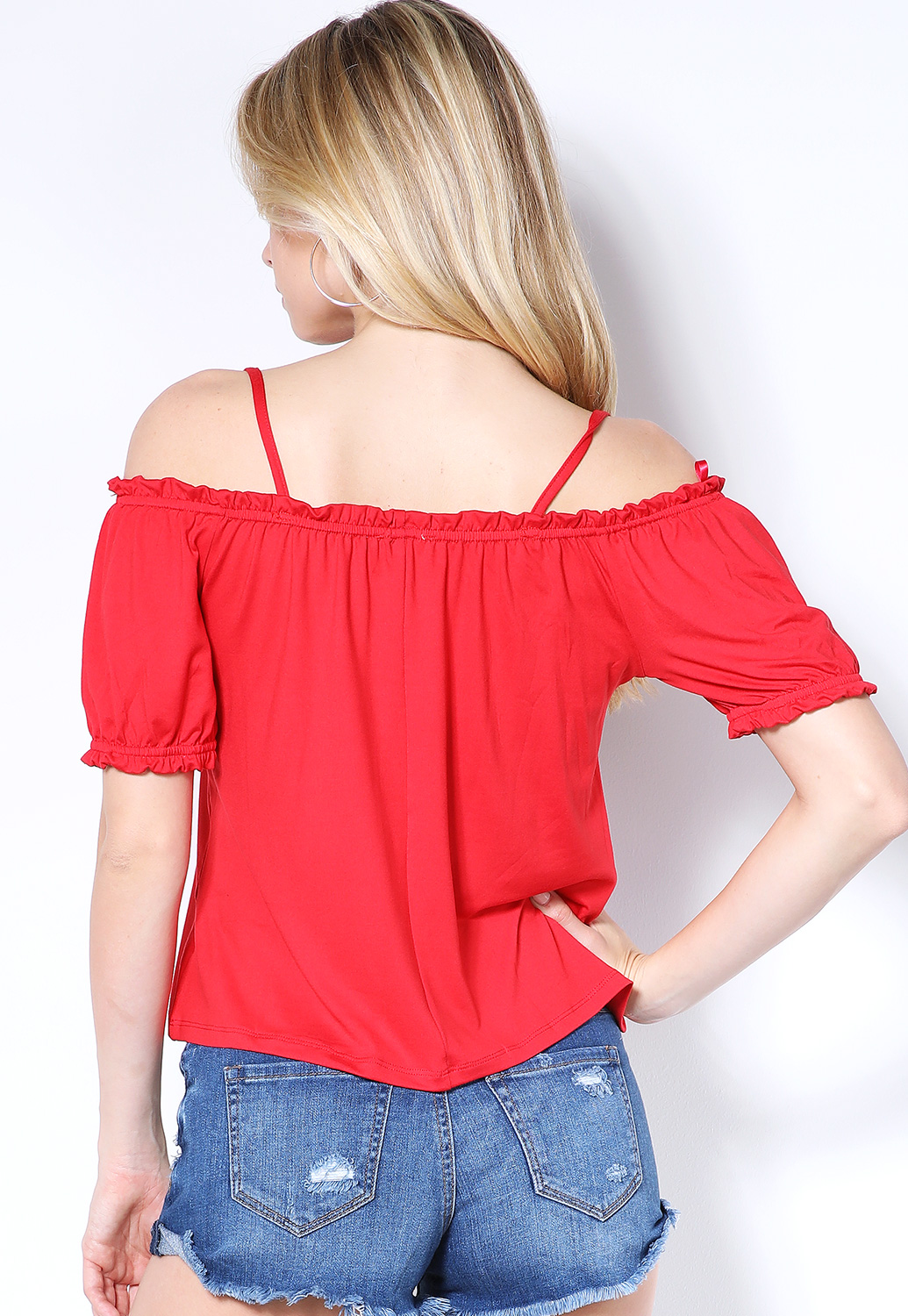Off The Shoulder Ruffle Trim Top