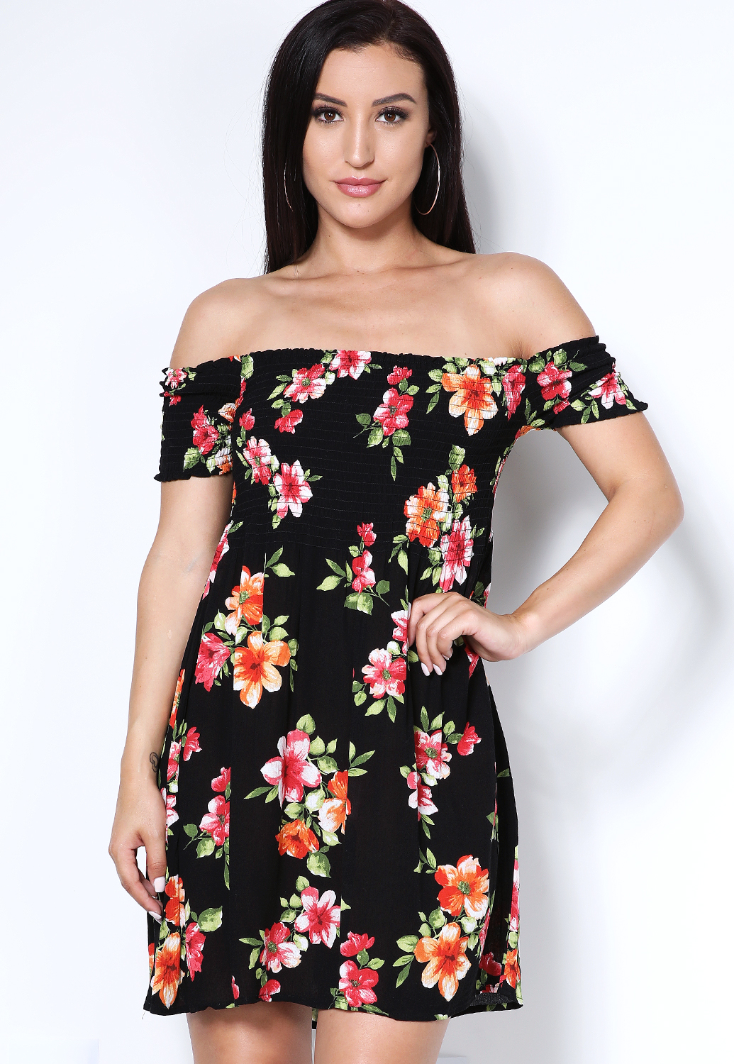 Floral Smocked Detail Dress