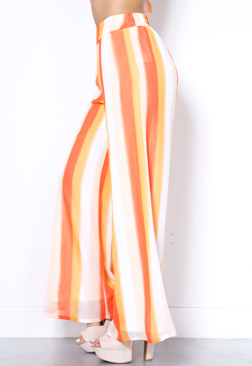 Orange Stripe Palazzo Pants
