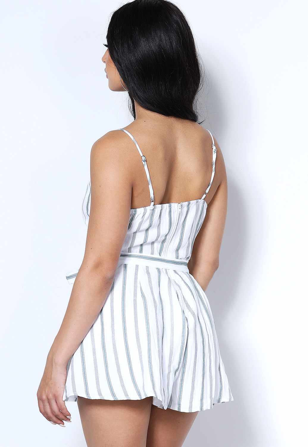Pinstriped Button Detail Romper