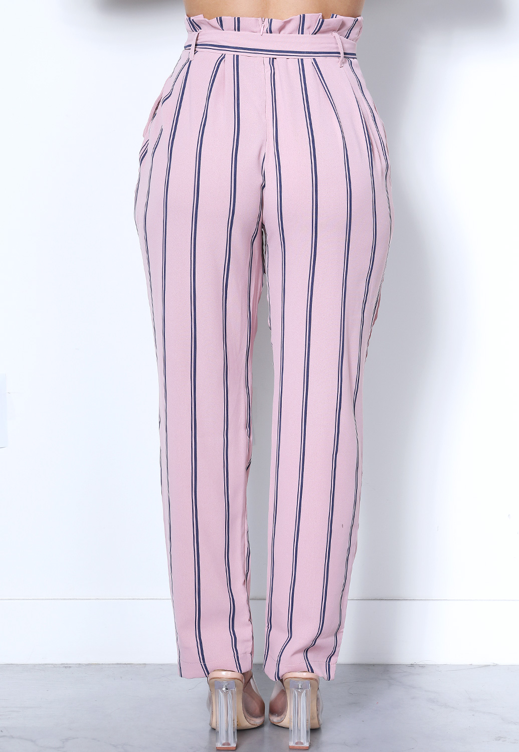 Pinstriped Belted Pants