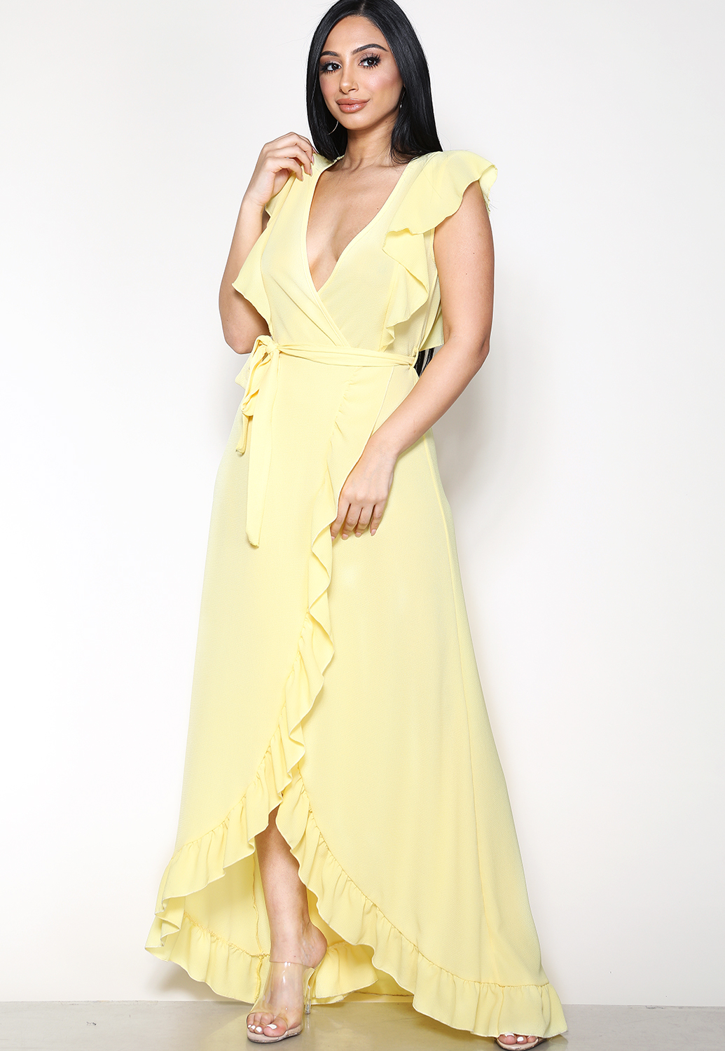 Ruffle Trim Tie Front Maxi Dress