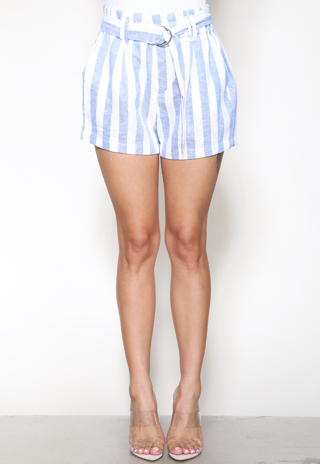 Pinstriped Belted Dressy Shorts